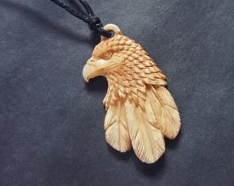 Eagle Necklace Pendant Hand Carved Buffalo Bone Eagle Jewelry Taxidermy Eagle Head Carving Jewellery