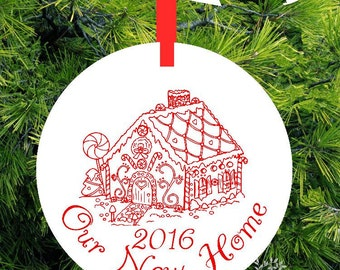 Our New Home Christmas Ornament - Gingerbread House - Personalized Porcelain Housewarming Holiday Gift - BTL43 - lovebirdschristmas