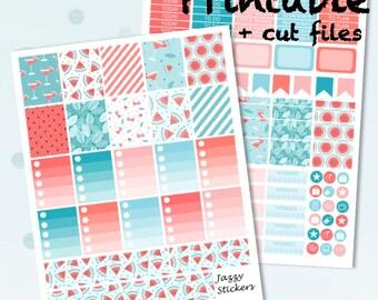 June Watermelon Splash Kit with JPEG,PDF, Silhouette cut files / Printable Planner Stickers / Erin Condren vertical Planner