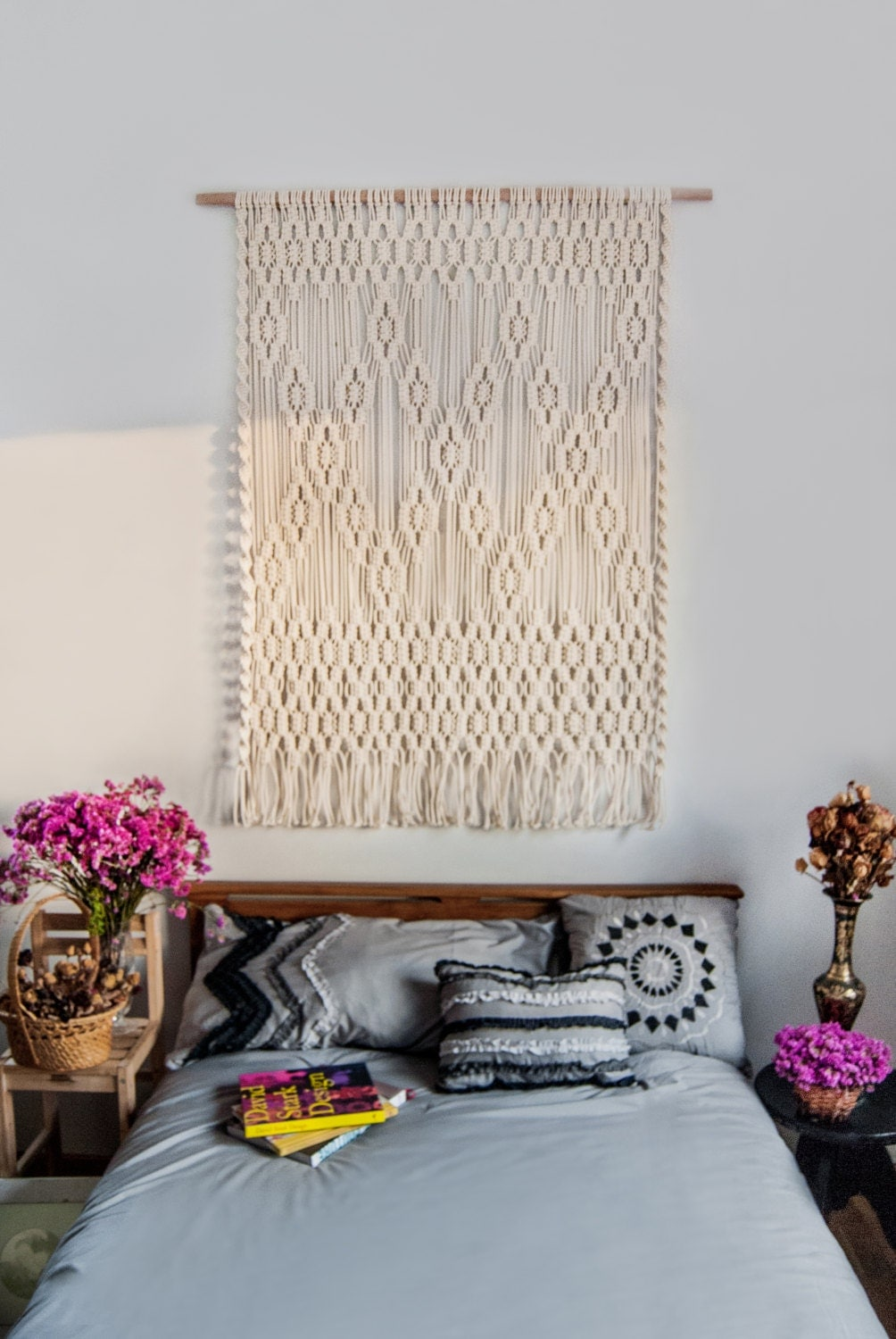 large macrame wall hanging bedroom nursery decor boho macrame wall hanging macrame curtain large macrame wall