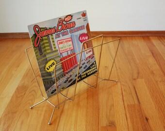 Mid Century Modern Vintage Vinyl Record Holder Atomic Magazine Rack