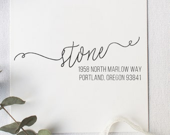 Classy Cursive Address Stamp - Personalized Address Stamp, Return Address Stamp, Classy Invitation Address Stamp, Calligraphy (Style 25)