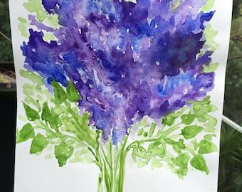 Delphinium Delight Watercolours Nature Flowers Floral Art