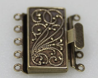 5 Strand Box Clasp, Antique Brass, Vintage Style