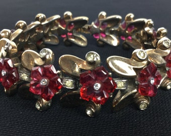 Trifari Fruit Salad Ruby Red Carved Bracelet. 1949