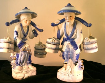 FREE SHIPPING* Vintage Chinese Man and Woman Carrying Water Buckets Figurines//Asian Man and Woman//Oriental Man and Woman
