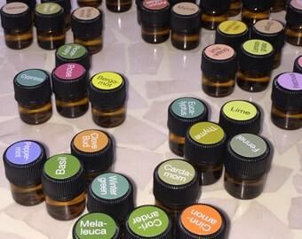 1ml (1/4 dram) Aromatherapy Essential Oil Samples, travel trial (CPTG) Certified Pure Therapeutic Grade, DoTerra PN411E/PN412E
