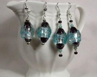 Aqua/Black/Silver Lampglass Dangle Earrings