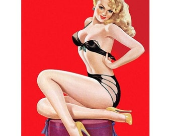Vintage Blonde Pinup Girl in Black Bikini with Heels - Collectible Pin-up Decor - 1950s - Pin-up Lingerie - Red Wall Art - Burlesque Style