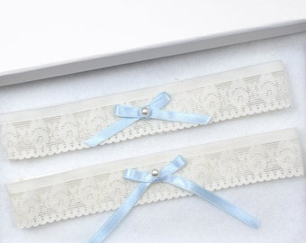 Ivory Lace Wedding Garter Set, Bridal Garter, Toss Garter, Wedding Garter, Cream Garter, Ivory Garter, Something Blue, Blue Garter, Garter