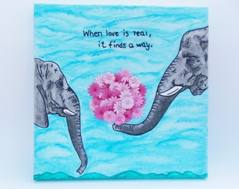 Elephant Lovers Stitched Canvas