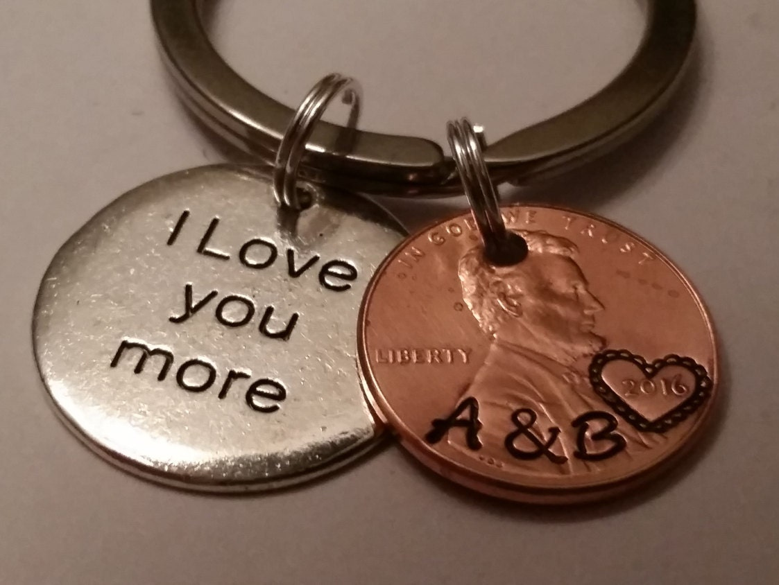 I Love You More Custom Lucky Penny Keychain Gift Couple