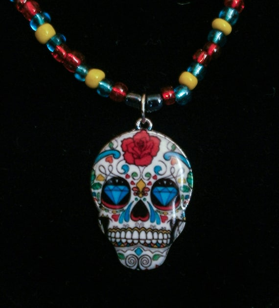 Sugar Skull Beaded Necklace | Day of the Dead Necklace