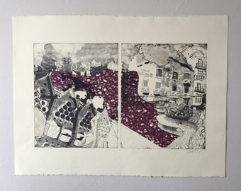 Abstract Barcelona Diptych Etching with Chine Collé