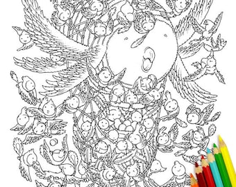 Flying Monsters Coloring Pages DIY Digital Printable Colouring Ginkgo Series 5