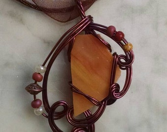 Orange stained glass wire wrapped pendant necklace