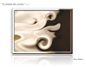 Large Abstract painting Original Art in Cream on Canvas Wall Art Different Sizes 'The Lord of the coffer' by Klaus Robebsen