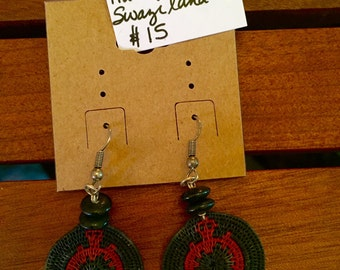 African hand-woven cloth circle earrings