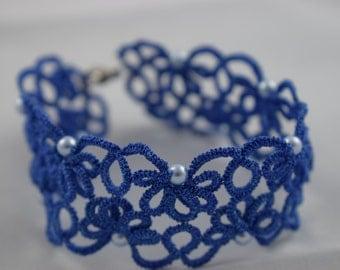 Royal Blue bracelet lace pastel blue pearls