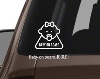 Baby on Board White Safety Sticker Funny Kids Decal Car Window Bumper Vinyl