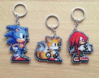 Sonic The Hedgehog Cross Stitch, Keychain or Charm, Sonic, Tails, Knuckles, Pixel Art, Handmade, Fan Art