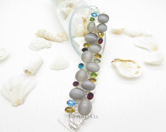Cat's Eye Citrine Garnet Blue Topaz Emerald Quartz Sterling Silver Bracelet