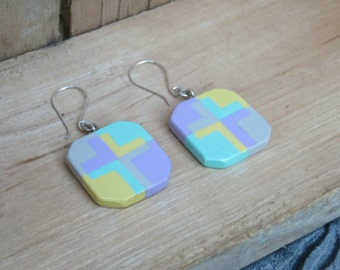 Easter Earrings, Wood Cross, Spring Earrings, Mosaic Cross, Painted cross, Cross Earrings, Wooden Earrings, Pastel earrings, Aqua cross