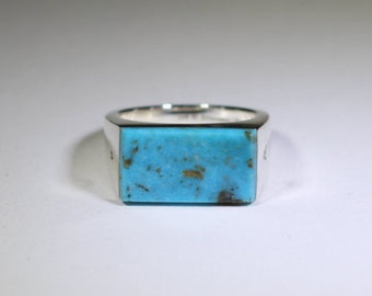 Turquoise Signet Ring in Sterling Silver (.925)