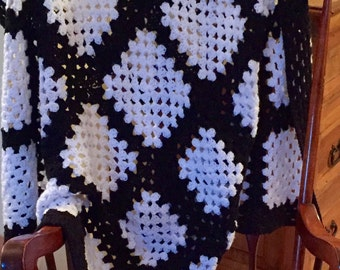 Vintage Crocheted Afghan Handmade Black and White Granny Squares Yarn Afghan Throw Blanket