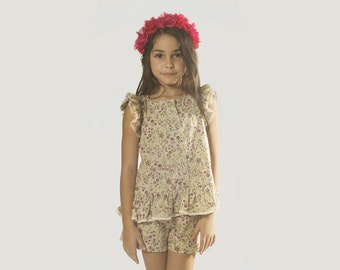 """Girlsl Peplum Top in Girls Sizes 2 to 9 Years -- The """"Cottage Garden"""" Peplum Floral Top in Primula"""