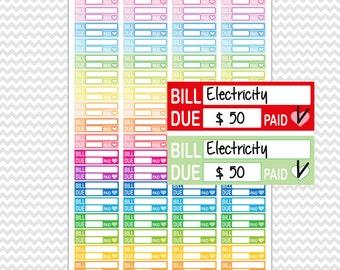 Bill Due Stickers Planner Printable. Bill Due Stickers. Erin Condren (EC - ECLP) FiloFax Kiki K Plum Paper Mambi. Pay Day Stickers Printable