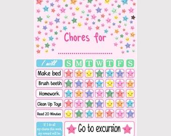 Chore Chart Printable. Chore Chart Stars Design. Chore Chart for Kids. Chore Chart for Children. Tasks Kids Chart. Tasks Children Chart.
