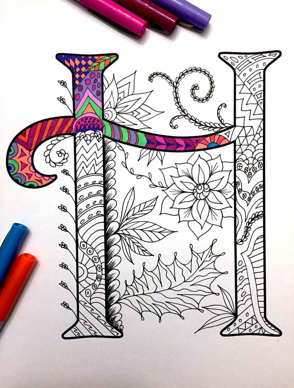 Letter H Zentangle Inspired by the font