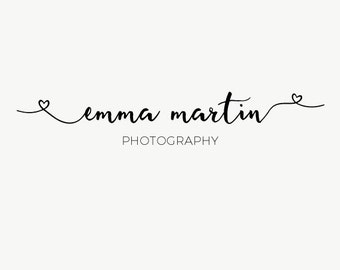 Simple black signature logo - Typography signature logo design - Name logo design - simple name logo design - Heart swashes - Heart endings