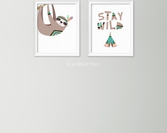 Woodland nursery art - Set of 2 woodland nursery prints - Stay wild nursery decor - Nursery sloth wall decor - Nursery art print