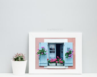 Flower windowbox print - Windowbox photography - Flowers on window photography - Salmon and blue  - Cottage chic decor - Rustic pretty