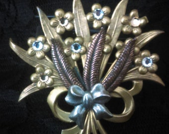 Vintage brooch/ Flower bouquet/Three color metal/Gold, Silver, Bronze/Gift for Birthday/Gift for mother/