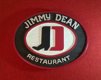 Vintage Jimmy Dean Restaurant Wall Sign James Dean Oval Solid Cedar Wood Painted Wall Decor Man Cave