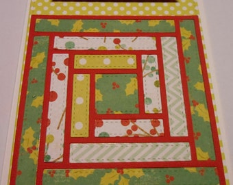 Handmade Paper Quilted Log Cabin Christmas Card