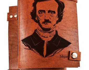 Leather Notebook - Edgar Poe journal - Edgar Poe Notebook - Leather Journal - Sketchbook - Diary