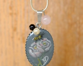 Handpainted Medallion Silver 925, roses and bee necklace,