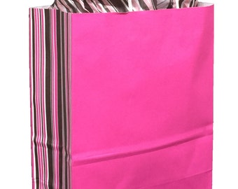 """Pack 10 handled paper bags Neapolitan Stripes + 20 sheets of matching tissue,10""""x5""""x13"""",Gift bag and tissue paper,small paper gift bag"""