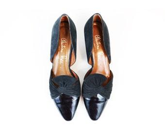 Vintage 60s/70s Avant Garde Black Patent Leather & Suede Flats size