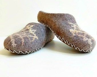 Felted Slippers Wool Slippers Brown Slippers Winter Slippers Men Slippers Warm Slippers Felt House Shoes Slippers With Sole Gift For Him