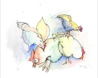 3 cards chicken flock