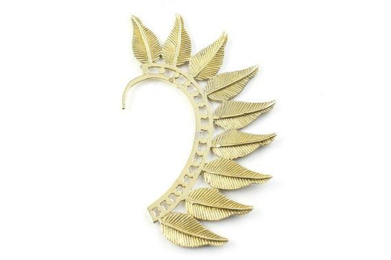 Wild Feather Ear Wrap, Brass Ear Cuff, Boho Jewelry, Tribal Ear Jewelry,  Festival Jewelry, Gypsy, Ethnic, Hippie Jewelry