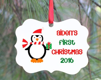 Baby's First Christmas Ornament, Personalized Baby's 1st Christmas Ornament, Christmas Tree Ornament, Baby Ornament, 1st Christmas Gift