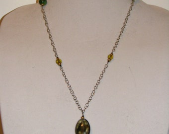 Green and Gold necklace and earrings