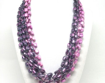 Exquisite Signed Hong Kong Purple And Pink Beaded Earrings Necklace Set