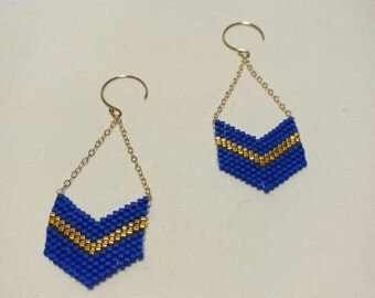 Earrings blue and gold gold filled and beads miyuki glass